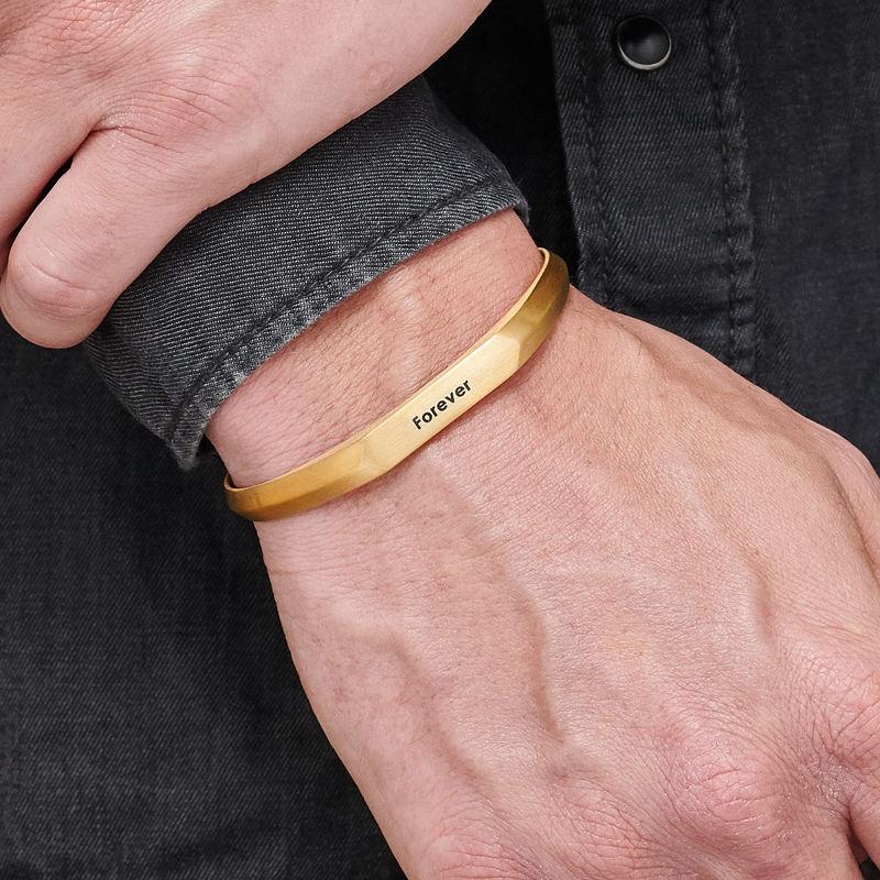Men's Narrow Cuff Bracelet in 18k Gold Plating - 2