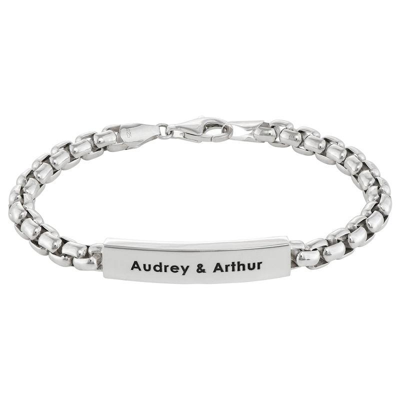 ID Bar Box Chain Bracelet for Men in Sterling Silver