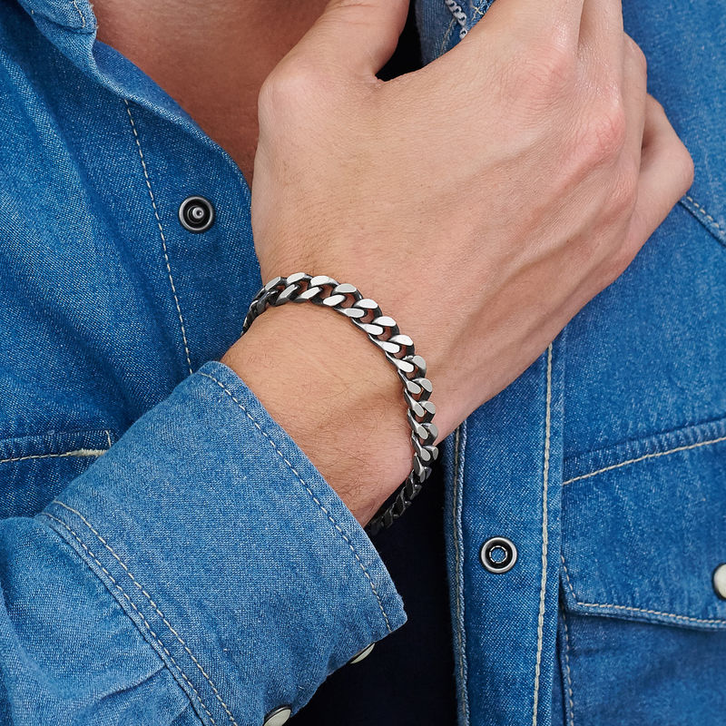 Men Curb Chain Bracelet in Sterling Silver - 2