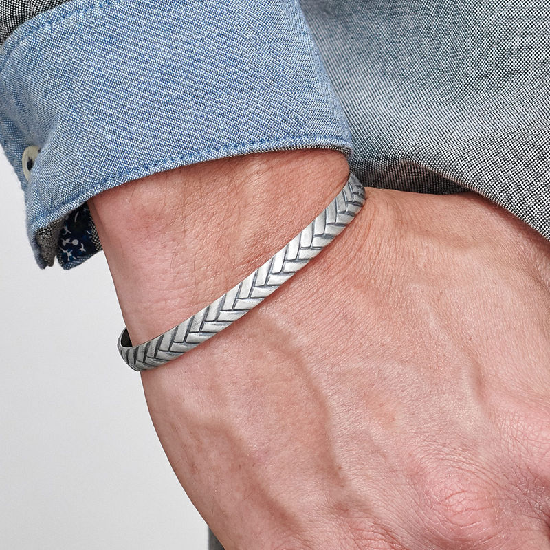 Engraved Streamline Cuff Bracelet for Men - 2