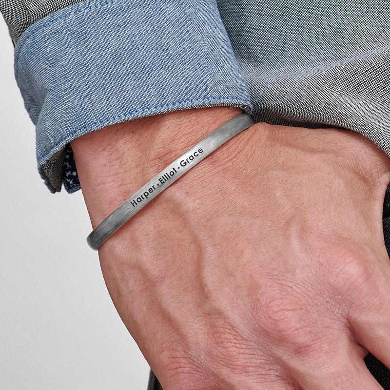 Men's Silver Thin Cuff Bracelet - 2