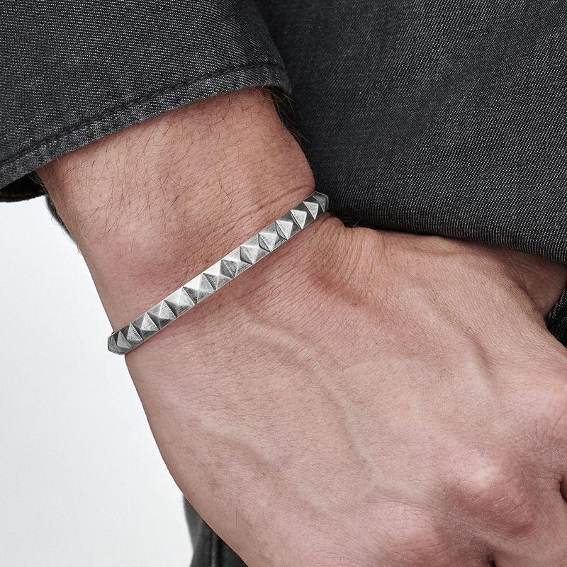 Studded Open Cuff Bracelet for Men - 2