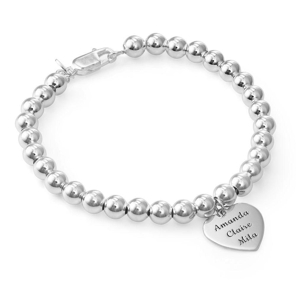 Engraved Heart Charm Bracelet for Mom in Sterling Silver