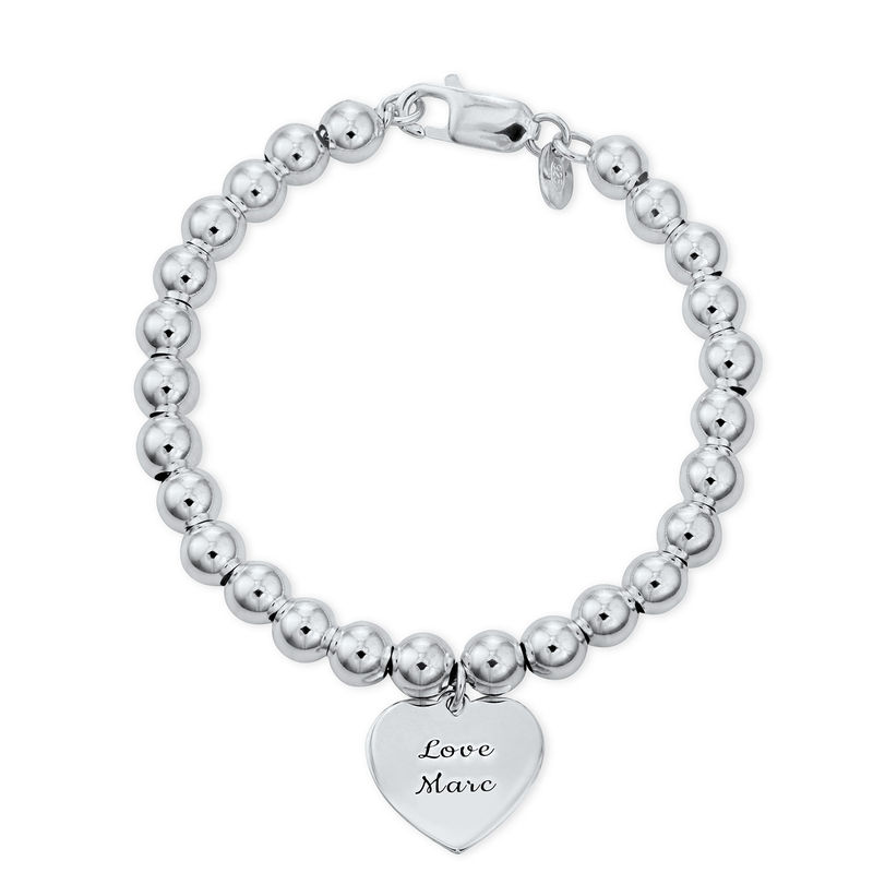 Engraved Heart Charm Beaded Bracelet in Sterling Silver