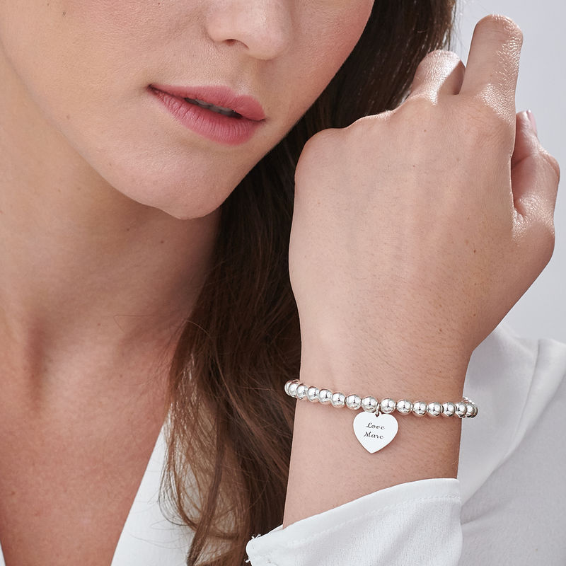 Engraved Heart Charm Beaded Bracelet in Sterling Silver - 2
