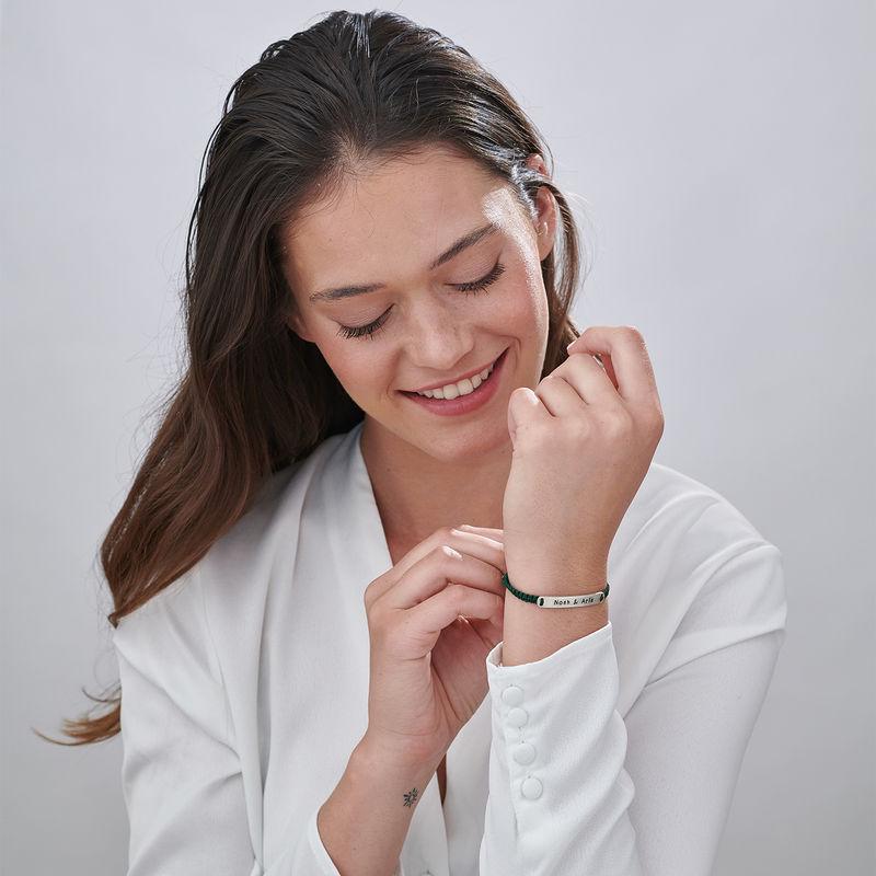 Adjustable Engraved Bar Rope Bracelet in Silver - 2