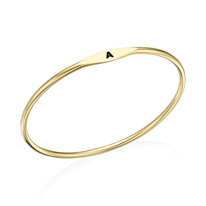 Initial Bangle Bracelet in Gold Plating - 1