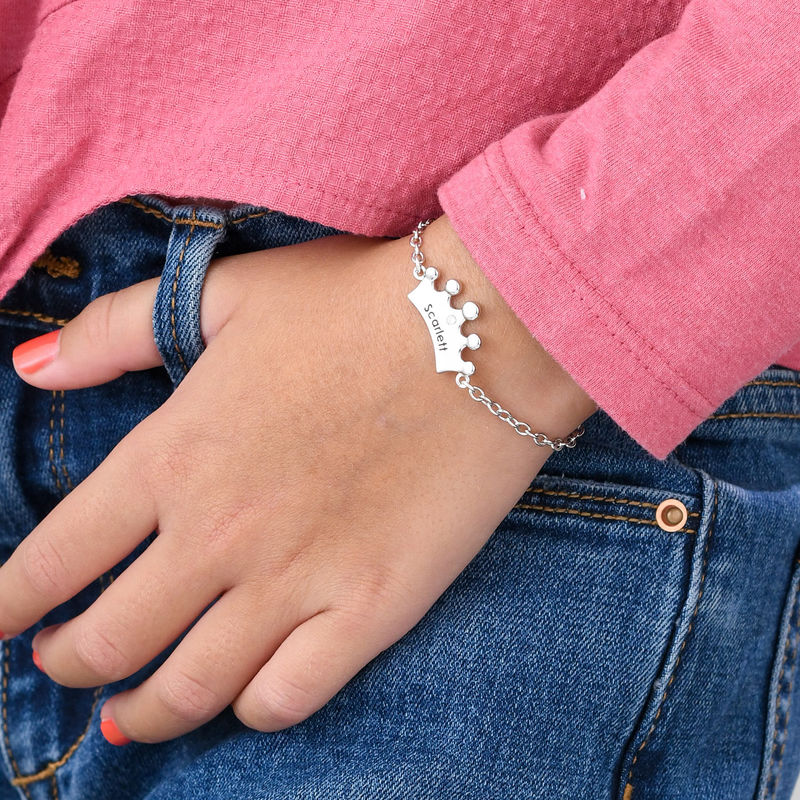 Princess Crown Bracelet for Girls with Cubic Zirconia in Sterling Silver - 2