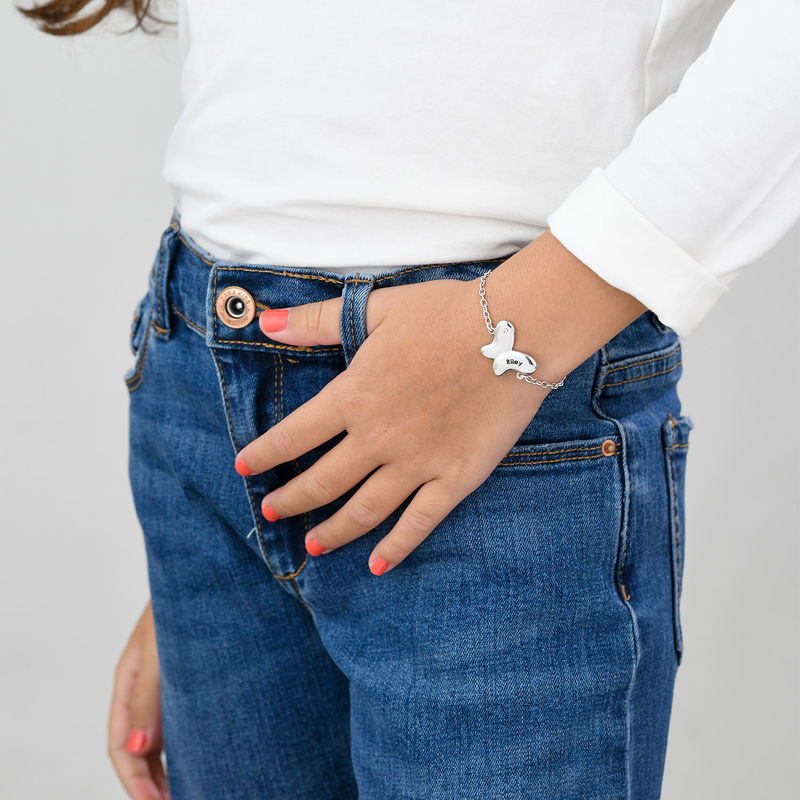 Butterfly Bracelet for Girls with Cubic Zirconia in Sterling Silver - 1