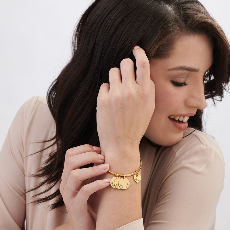 Bangle Bracelet with Personalized Pendants in Gold Plating - 1