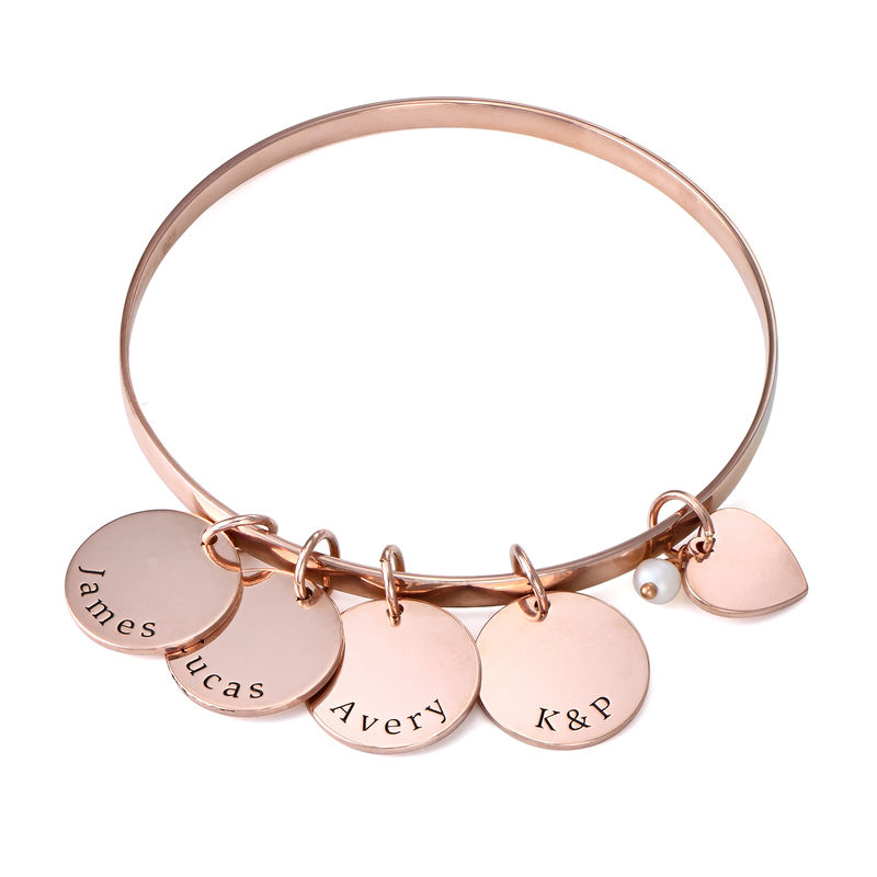 Bangle Bracelet with Personalized Pendants in Rose Gold Plating
