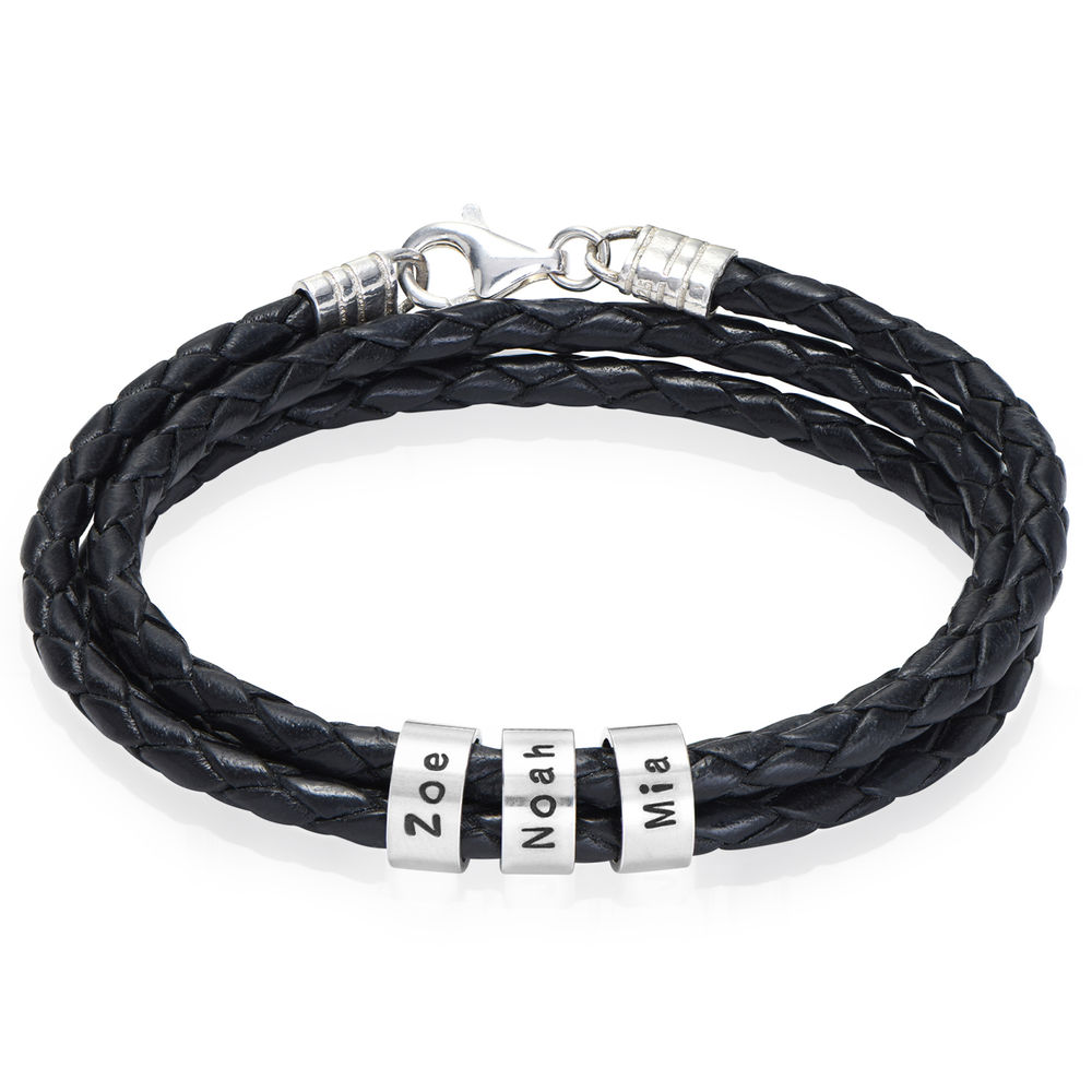 Men Braided Leather Bracelet with Small Custom Beads in Silver - 1