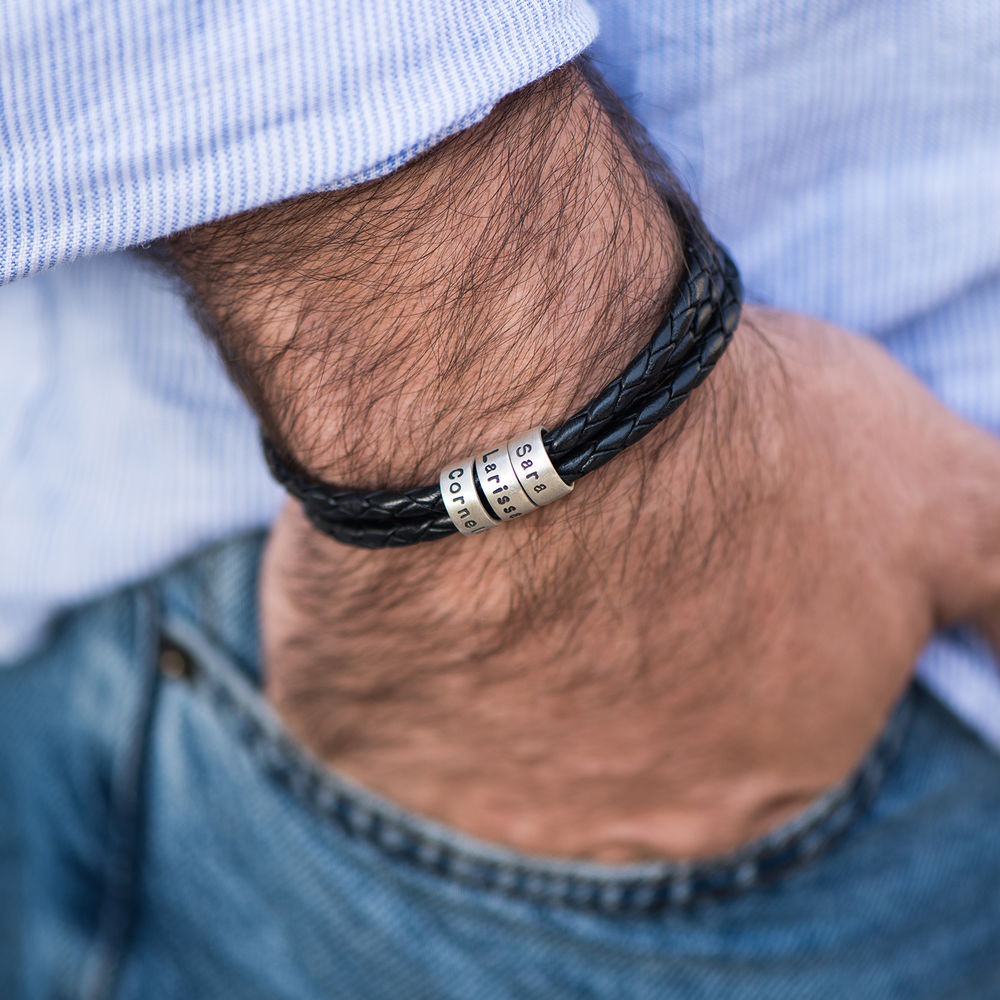 Men Braided Leather Bracelet with Small Custom Beads in Silver - 2