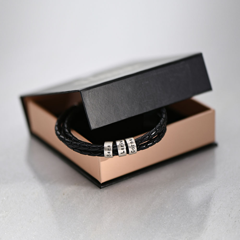 Men Braided Leather Bracelet with Small Custom Beads in Silver - 6