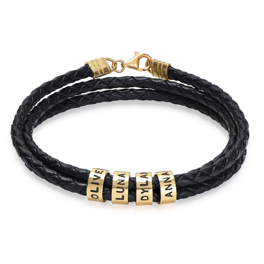Men Braided Leather Bracelet with Small Custom Beads in Vermeil