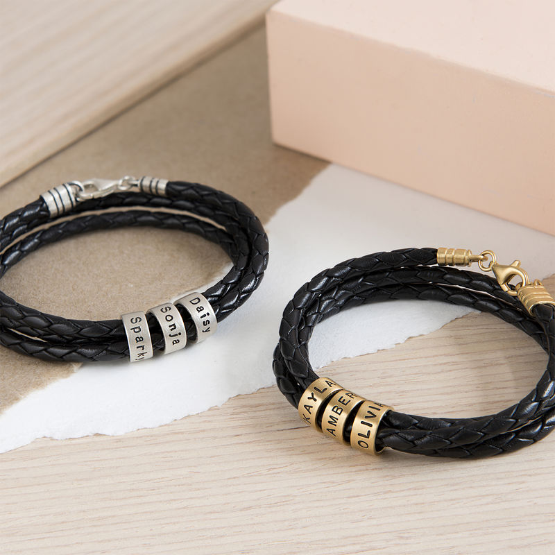 Women Braided Leather Bracelet with Custom Beads in Silver - 4