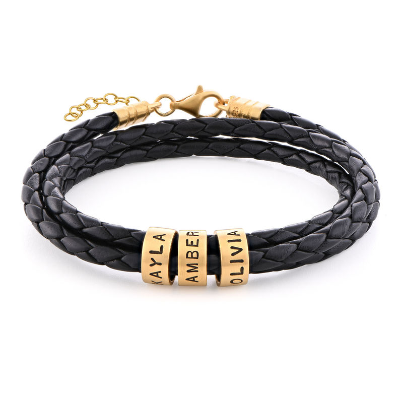 Women Braided Leather Bracelet with Custom Beads in Gold Plating