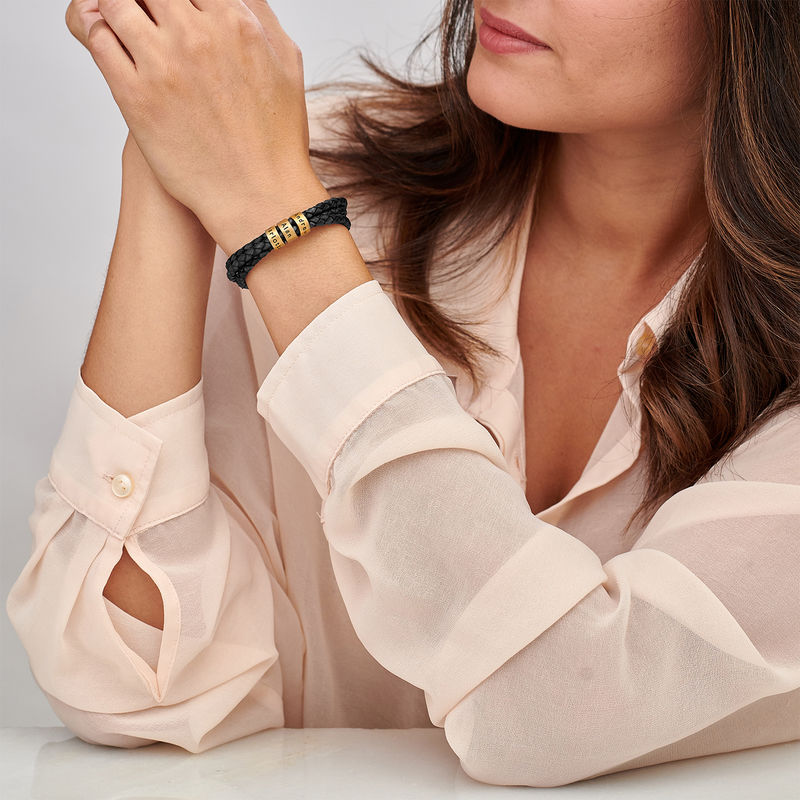 Women Braided Leather Bracelet with Custom Beads in Vermeil - 1