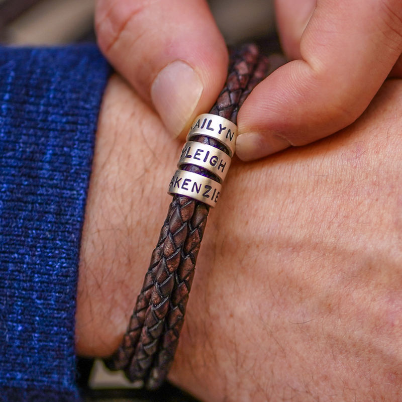 Men Braided Brown Leather Bracelet with Small Custom Beads in Silver - 5