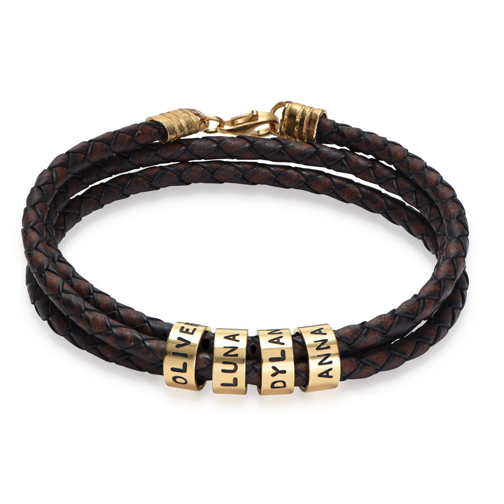 Men Braided Brown Leather Bracelet with Small Custom Beads in Gold Plating
