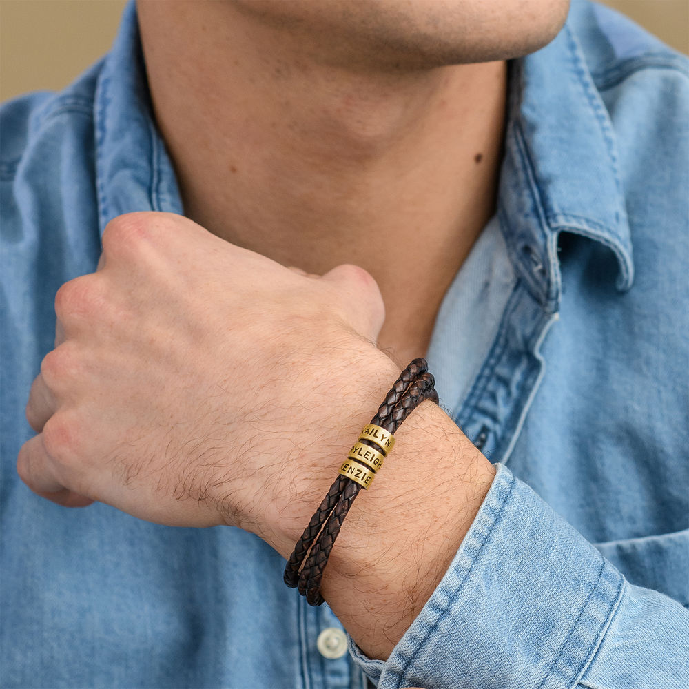 Men Braided Brown Leather Bracelet with Small Custom Beads in Gold Plating - 1
