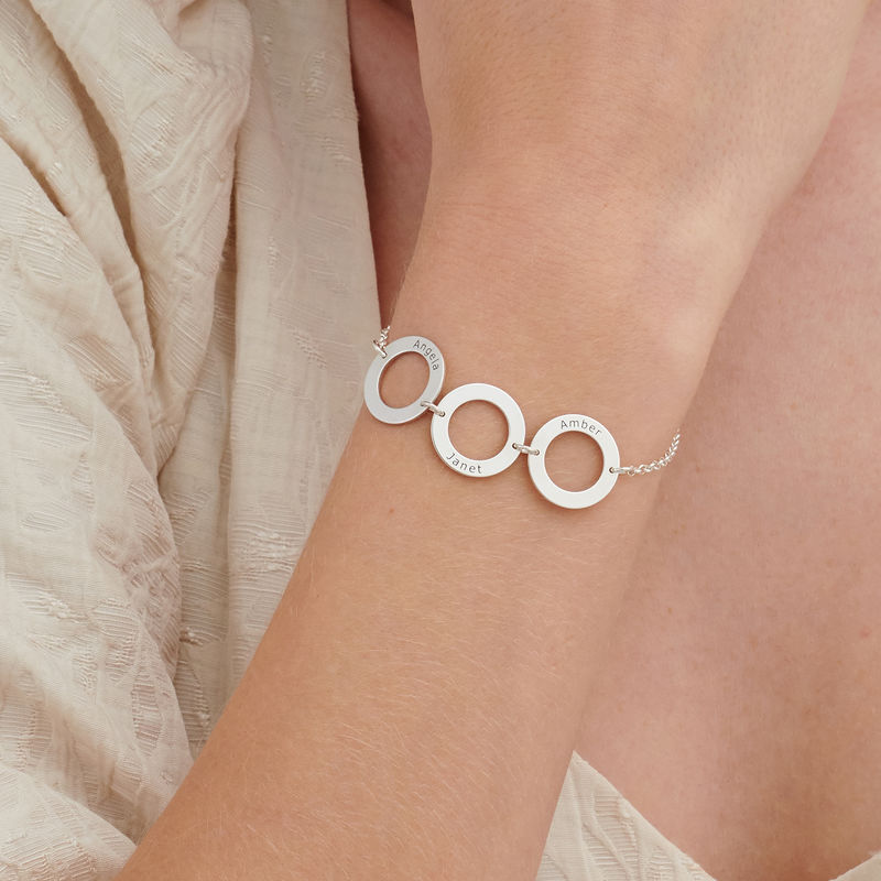 Personalized 3 Circles Bracelet with Engraving in Sterling Silver - 2