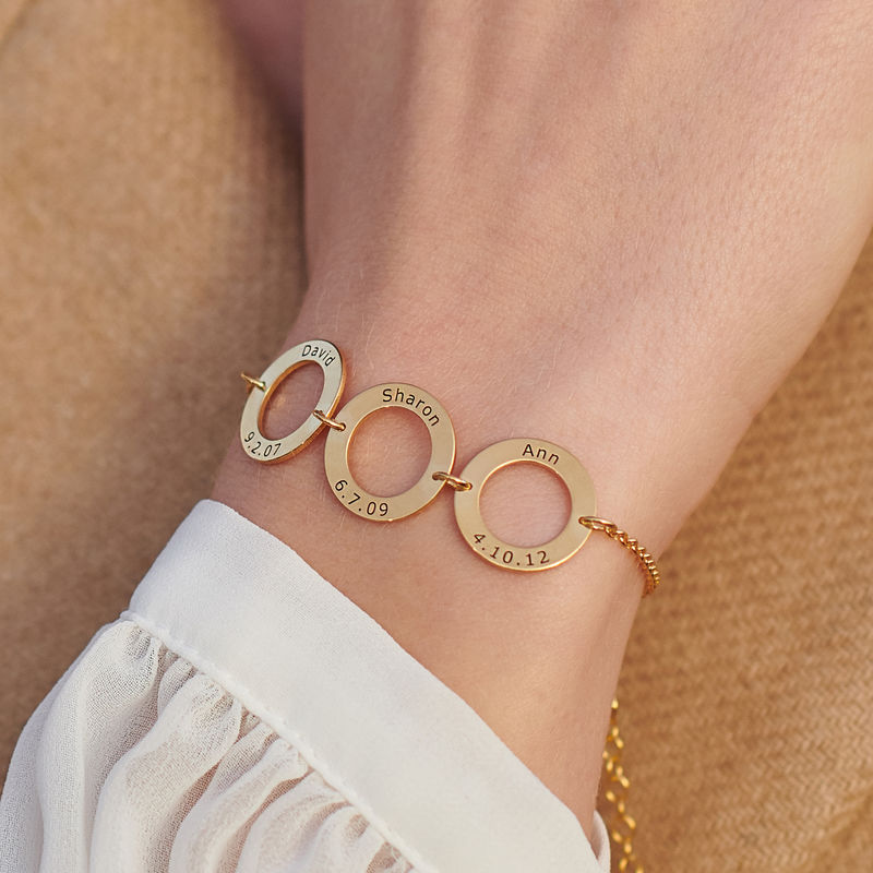 Personalized 3 Circles Bracelet with Engraving in Gold Plating - 3