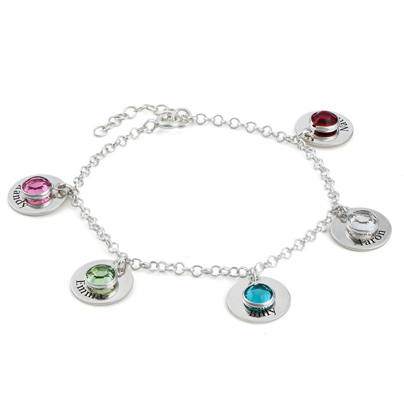 Mom Personalized Charms Bracelet with Birthstone Crystals in Sterling Silver