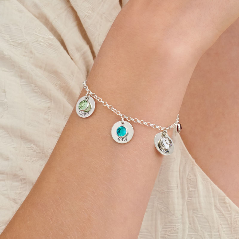Mom Personalized Charms Bracelet with Birthstone Crystals in Sterling Silver - 2