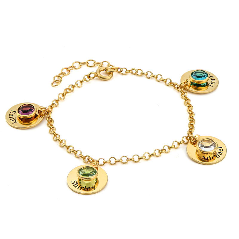 Mom Personalized Charms Bracelet with Birthstone Crystals in Gold Plating