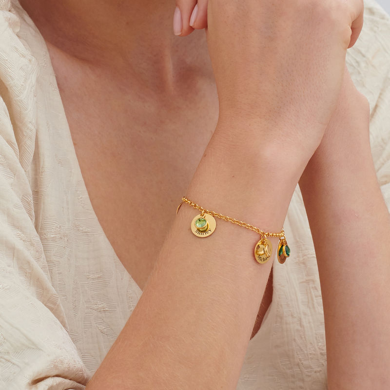 Mom Personalized Charms Bracelet with Birthstone Crystals in Gold Plating - 3