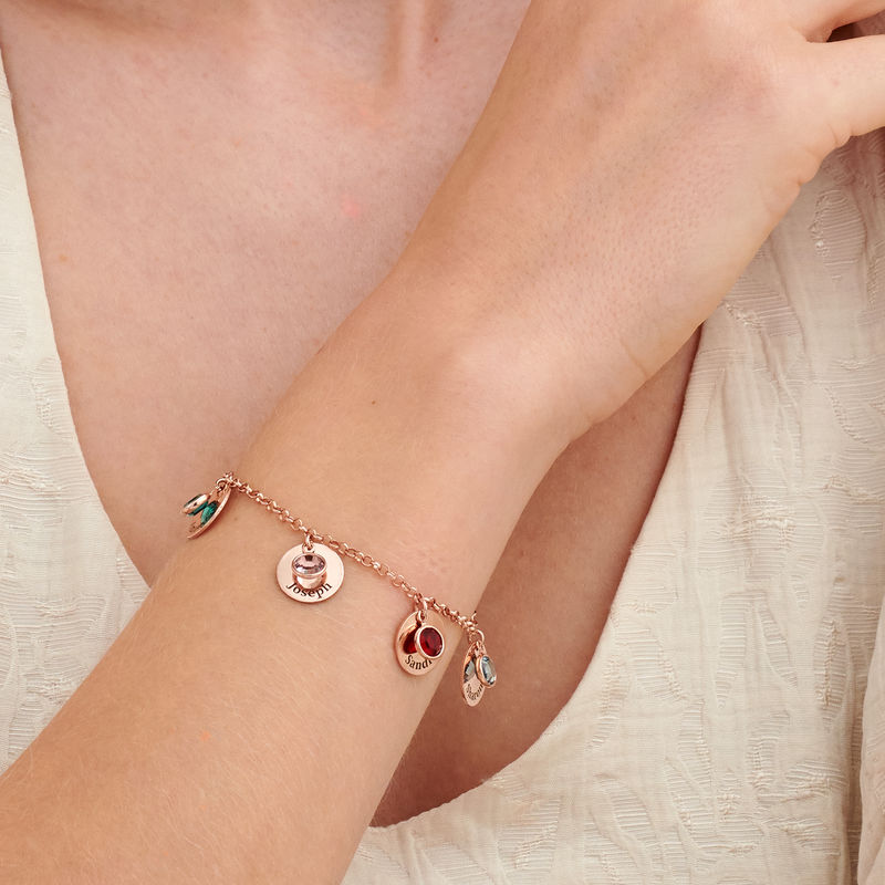 Mom Personalized Charms Bracelet with Birthstone Crystals in Rose Gold Plating - 2