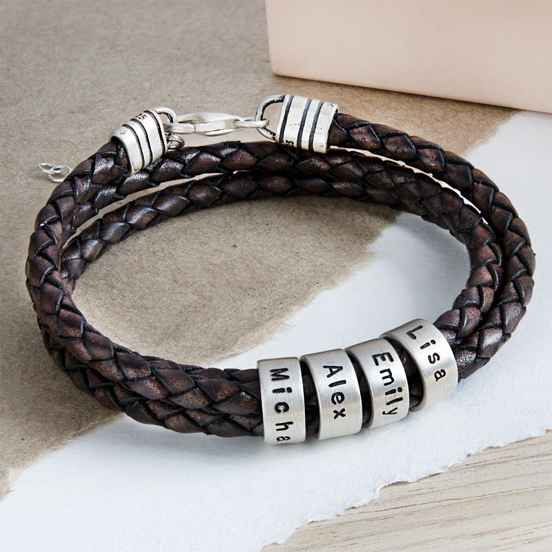 Women Braided Brown Leather Bracelet with Small Custom Beads in Silver - 4