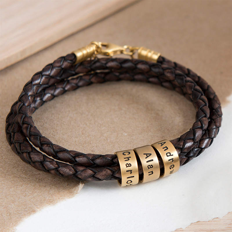 Women Braided Brown Leather Bracelet with Custom Beads in Gold Plating - 4