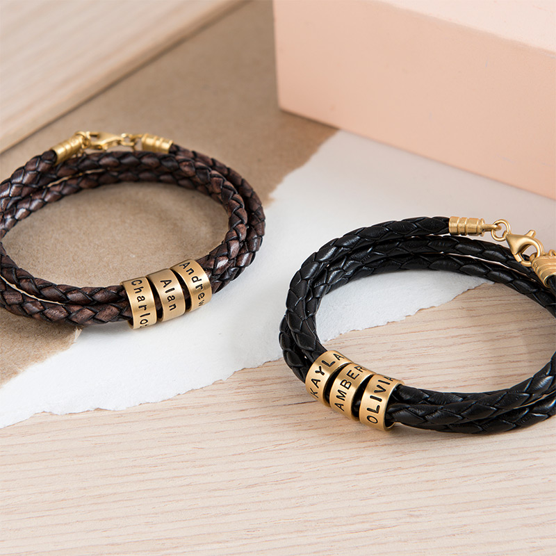 Women Braided Brown Leather Bracelet with Custom Beads in Gold Plating - 5