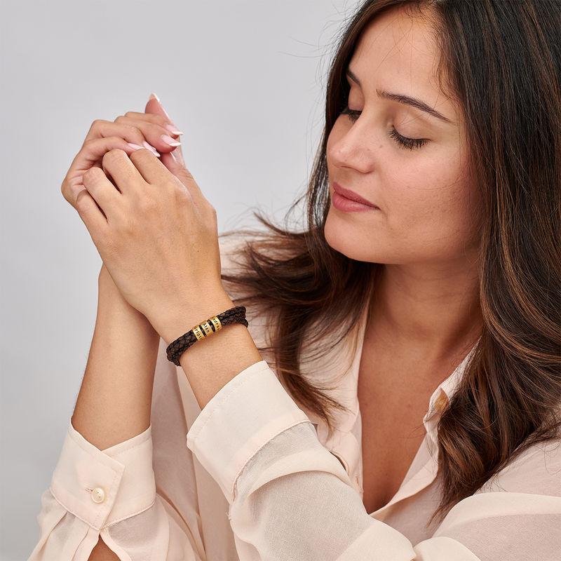 Women Braided Brown Leather Bracelet with Custom Beads in Vermeil - 1