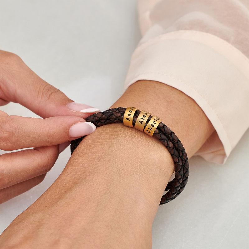 Women Braided Brown Leather Bracelet with Custom Beads in Vermeil - 3