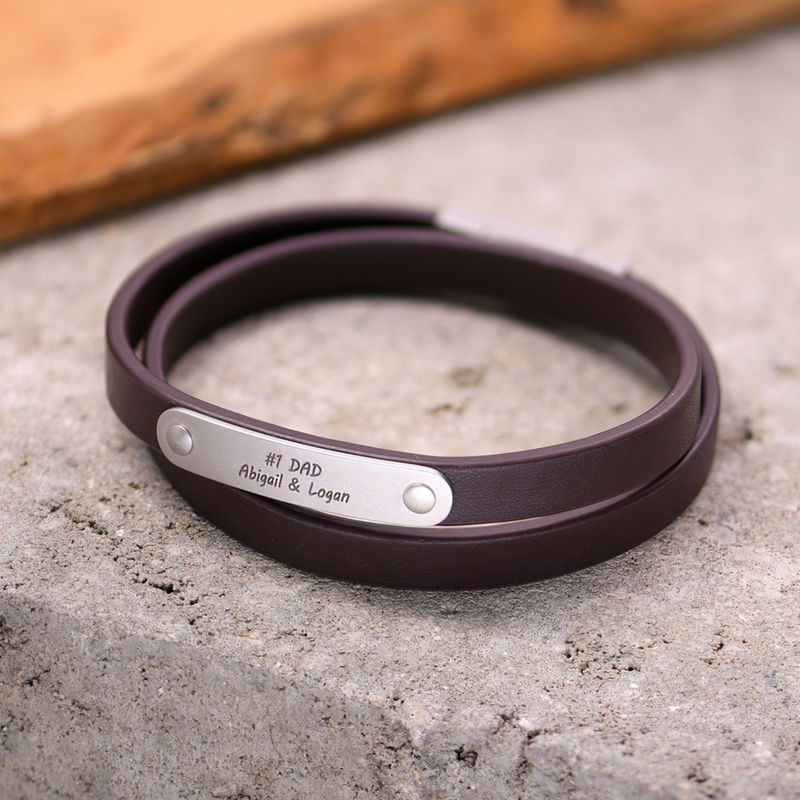 Brown Leather Bracelet with Engraved Bar - 4
