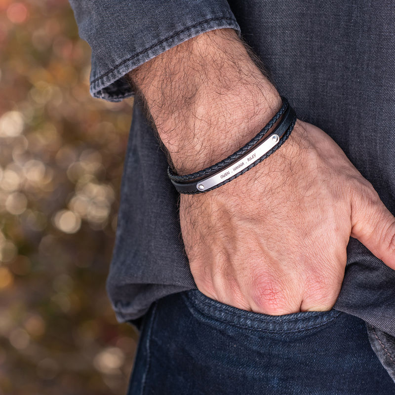 Stacked Black Leather Bracelets with an Engraved Bar - 2