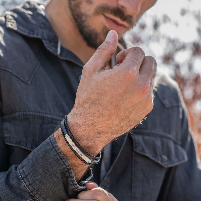 Stacked Black Leather Bracelets with an Engraved Bar - 4