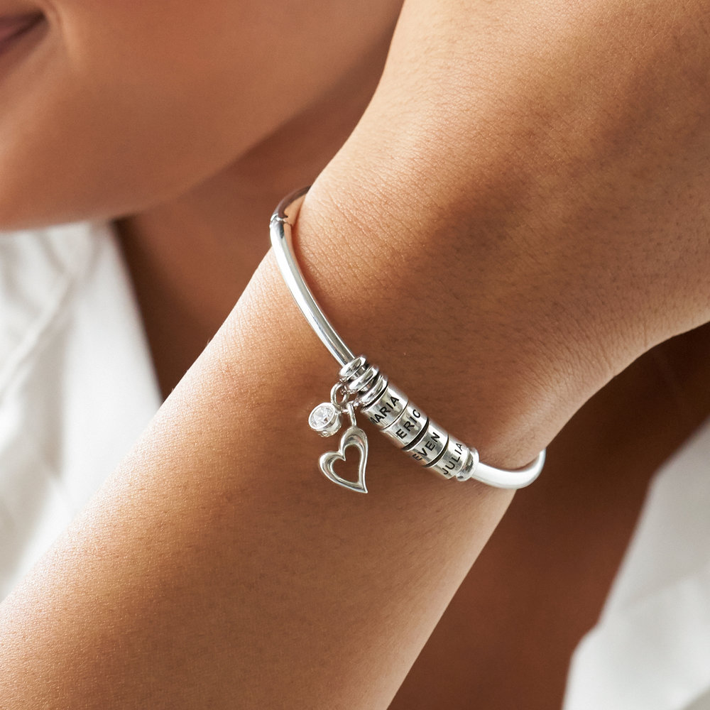 Linda Open Bangle Bracelet with Silver Beads - 3