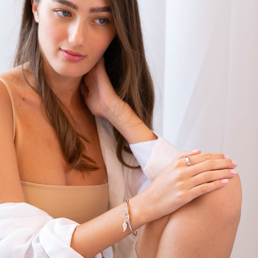 Linda Open Bangle Bracelet with Silver Beads - 4
