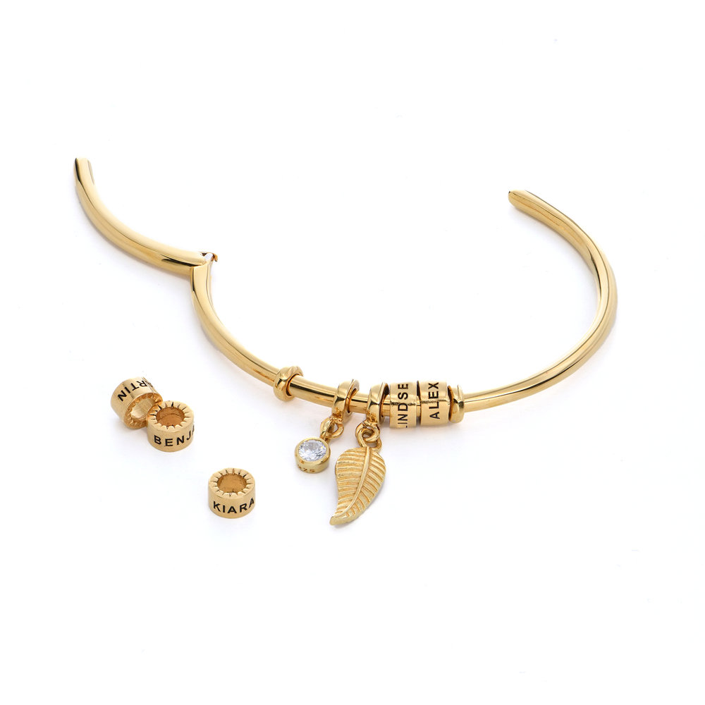 Linda Open Bangle Bracelet with Gold Plated Beads  - 1