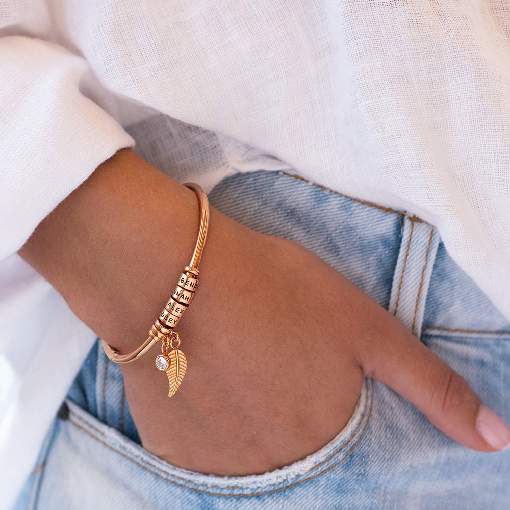 Linda Open Bangle Bracelet with Rose Gold Plated Beads - 2