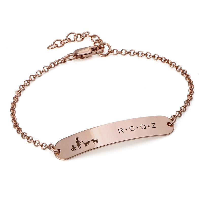 Family Bar Bracelet in 18K Rose Gold Plating - 1
