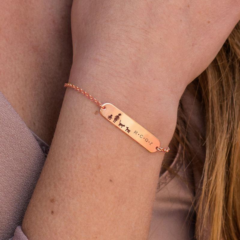 Family Bar Bracelet in 18K Rose Gold Plating - 3