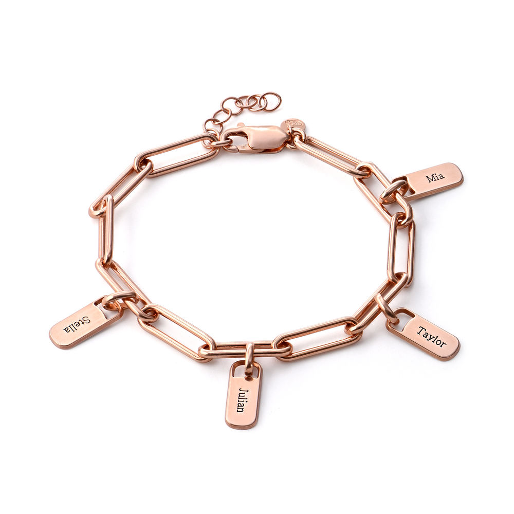 Rory Chain Link Bracelet with Custom Charms in 18K Rose Gold Plating