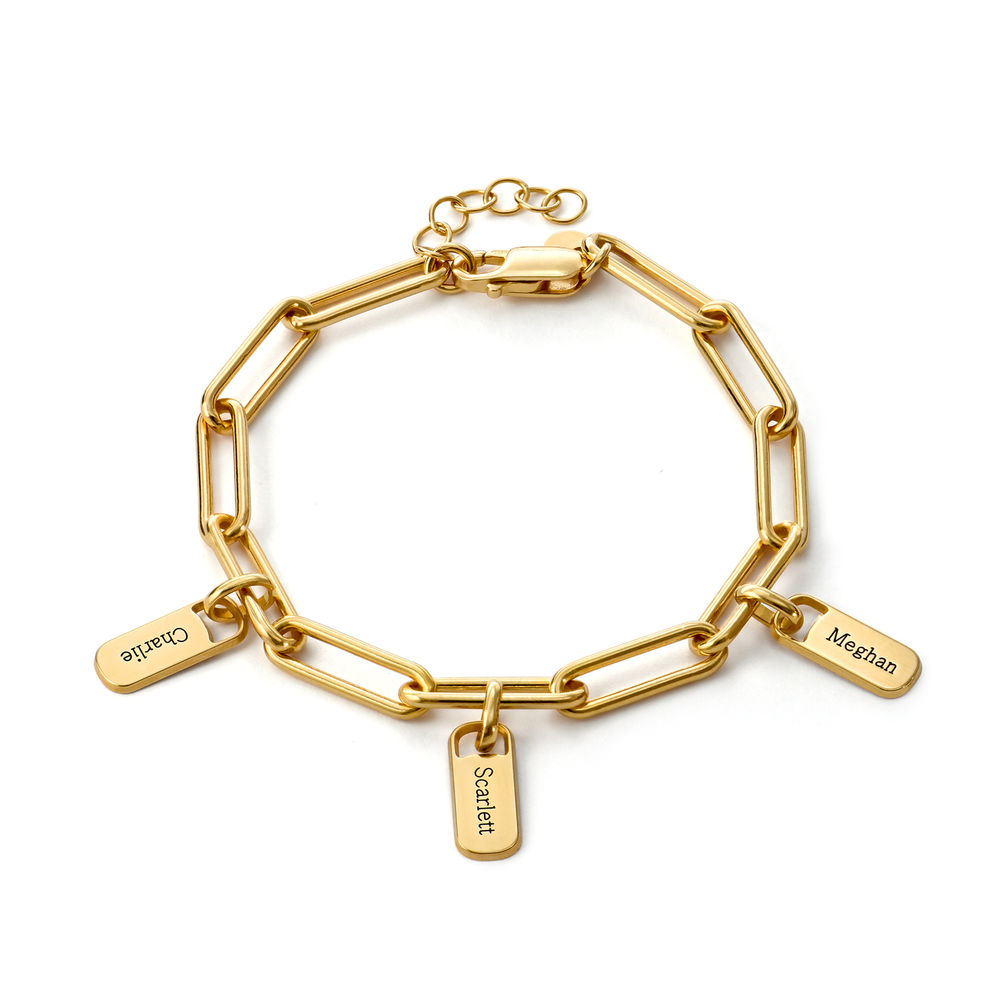Chain Link Bracelet with Custom charms in 18K Gold Vermeil - 1