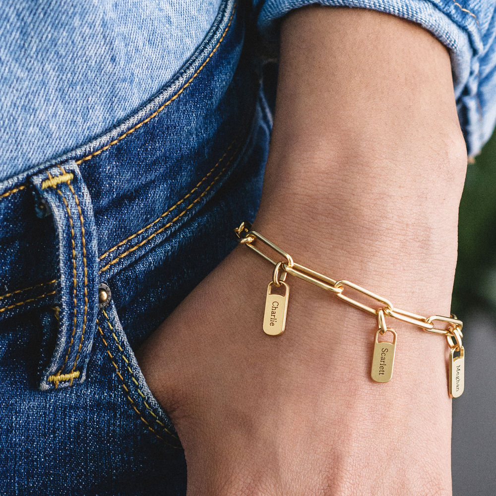 Chain Link Bracelet with Custom charms in 18K Gold Vermeil - 3