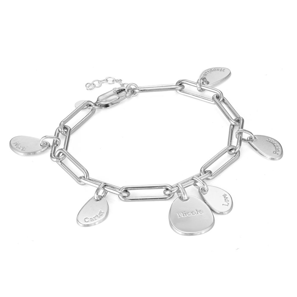 Hazel Paperclip Chain Link Bracelet with Engraved Charms in Sterling Silver